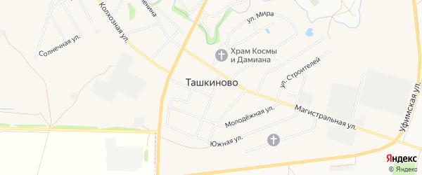 Карта села Ташкиново города Нефтекамска в Башкортостане с улицами и номерами домов