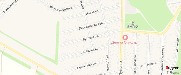 Луговая улица на карте села Бижбуляка с номерами домов