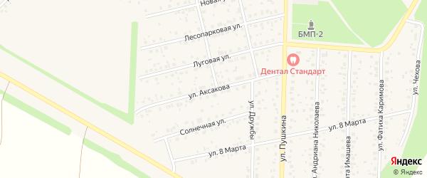 Улица Аксакова на карте села Бижбуляка с номерами домов
