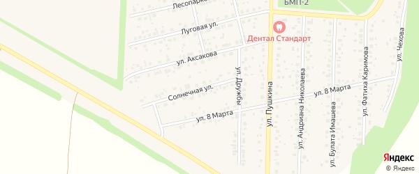 Солнечная улица на карте села Бижбуляка с номерами домов