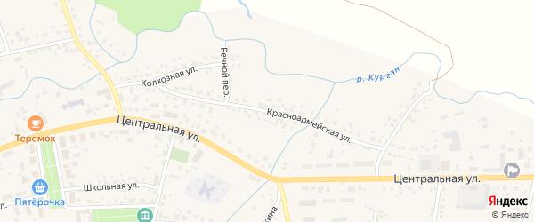 Красноармейская улица на карте села Бижбуляка с номерами домов