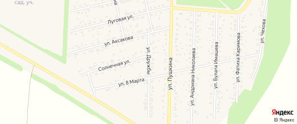 Улица Дружбы на карте села Бижбуляка с номерами домов