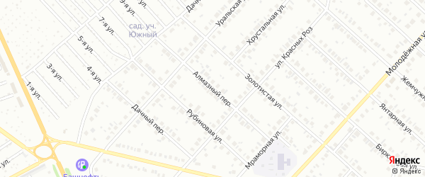 Алмазный переулок на карте Нефтекамска с номерами домов