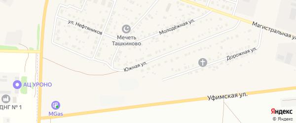 Южная улица на карте села Ташкиново с номерами домов
