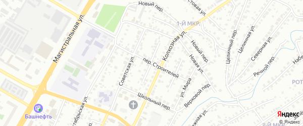 Переулок Строителей на карте Нефтекамска с номерами домов