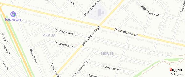Лучезарная улица на карте Нефтекамска с номерами домов