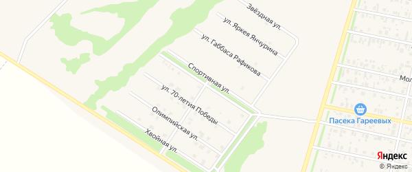Спортивная улица на карте села Верхнеяркеево с номерами домов