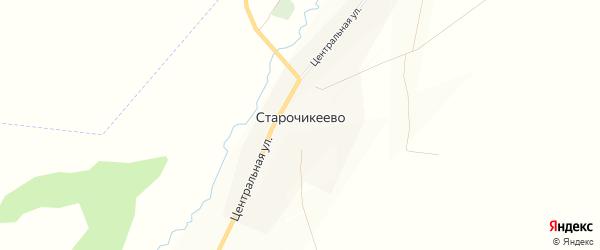 Карта села Старочикеево в Башкортостане с улицами и номерами домов