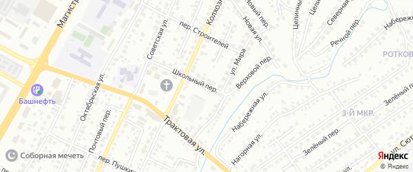 Школьный переулок на карте Нефтекамска с номерами домов