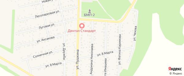 Улица Андриана Николаева на карте села Бижбуляка с номерами домов
