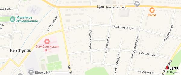 Подлесная улица на карте села Бижбуляка с номерами домов