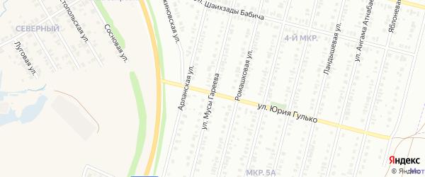 Улица Мусы Гареева на карте Нефтекамска с номерами домов