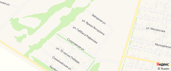 Улица Габбаса Рафикова на карте села Верхнеяркеево с номерами домов
