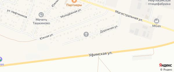 Дорожная улица на карте села Ташкиново с номерами домов