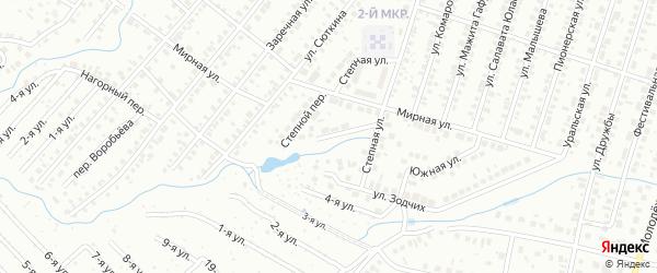Степной переулок на карте Нефтекамска с номерами домов