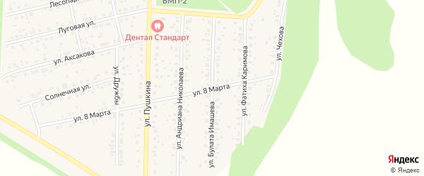 Улица Булата Имашева на карте села Бижбуляка с номерами домов