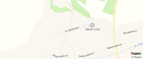 Улица Дюртюли на карте села Резяпово с номерами домов