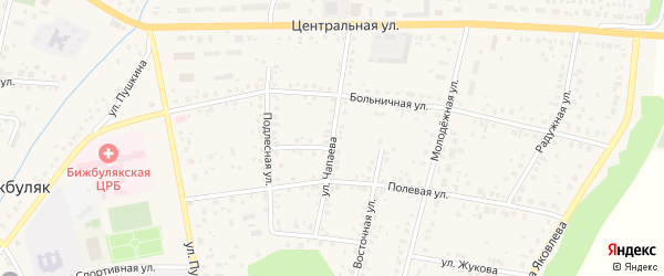 Улица Чапаева на карте села Бижбуляка с номерами домов