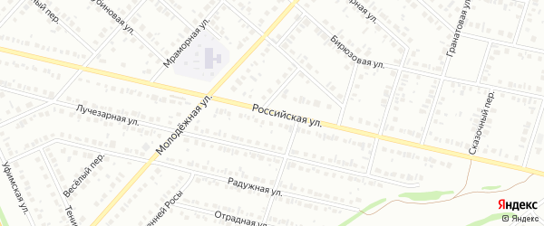 Российская улица на карте Нефтекамска с номерами домов