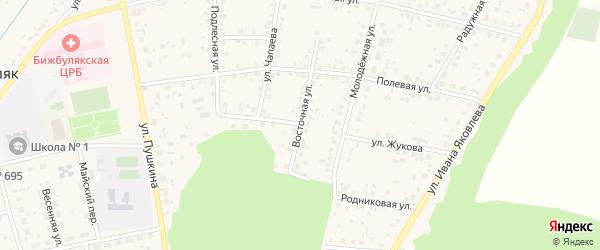 Восточная улица на карте села Бижбуляка с номерами домов