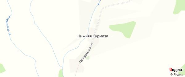 Карта деревни Нижней Курмазы в Башкортостане с улицами и номерами домов