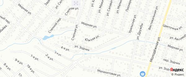 Южная улица на карте Нефтекамска с номерами домов