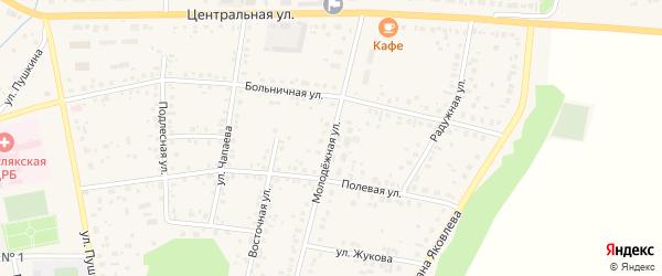 Молодежная улица на карте села Бижбуляка с номерами домов
