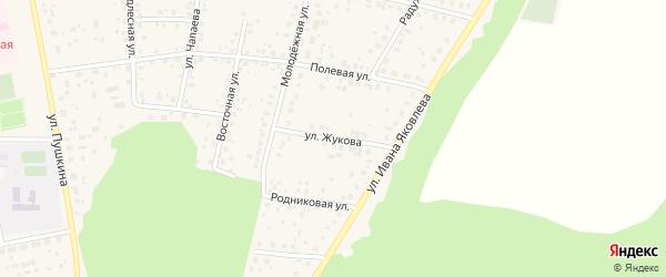 Улица Жукова на карте села Бижбуляка с номерами домов