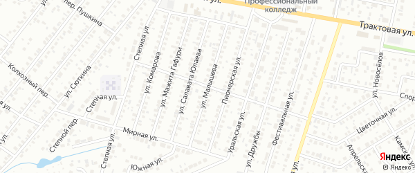 Улица Малышева на карте Нефтекамска с номерами домов
