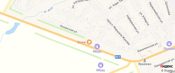 Казанская улица на карте села Верхнеяркеево с номерами домов