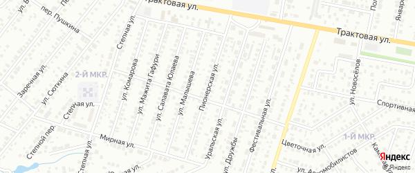 Пионерская улица на карте Нефтекамска с номерами домов