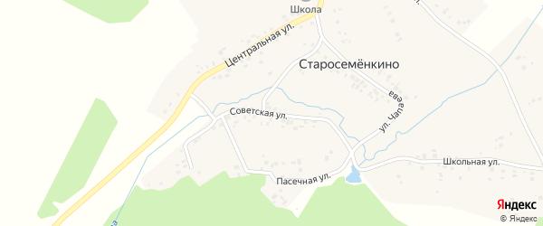 Пасечная улица на карте села Старосеменкино с номерами домов