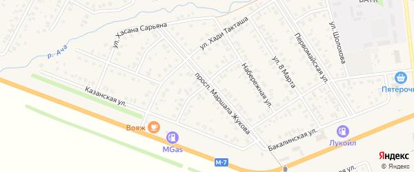 Улица Х.Давлетшиной на карте села Верхнеяркеево с номерами домов