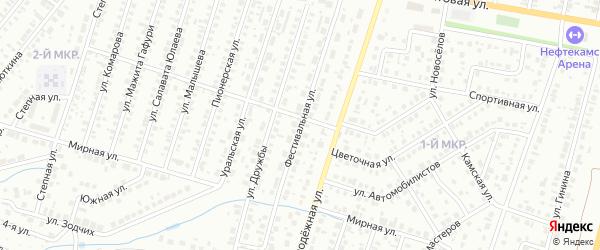 Фестивальная улица на карте Нефтекамска с номерами домов