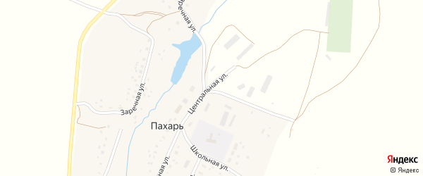 Шоссейная улица на карте деревни Пахаря с номерами домов
