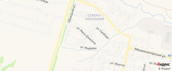 Улица М.Джалиля на карте села Верхнеяркеево с номерами домов