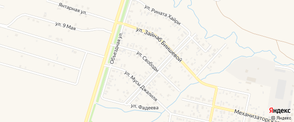Улица Свободы на карте села Верхнеяркеево с номерами домов
