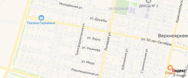 Улица Р.Зорге на карте села Верхнеяркеево с номерами домов