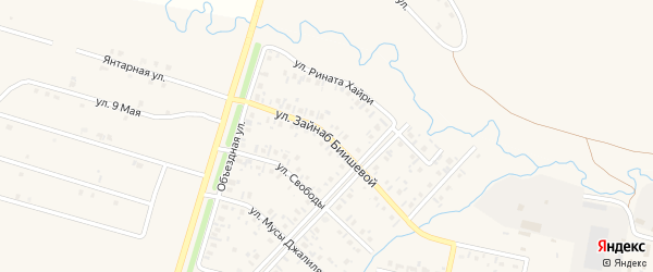Улица З.Биишевой на карте села Верхнеяркеево с номерами домов