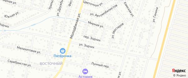 Переулок Зодчих на карте Нефтекамска с номерами домов