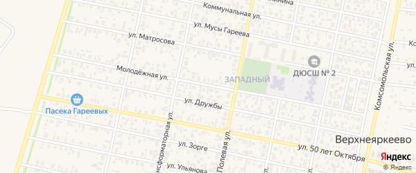 Молодежная улица на карте села Верхнеяркеево с номерами домов