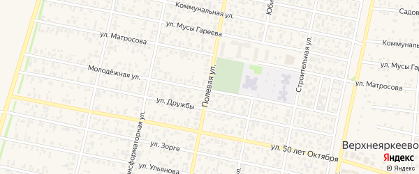 Полевая улица на карте деревни Зяйлево с номерами домов
