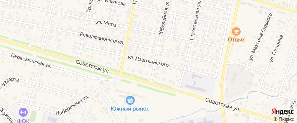 Улица Дзержинского на карте села Верхнеяркеево с номерами домов