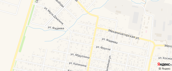 Улица Фадеева на карте села Верхнеяркеево с номерами домов