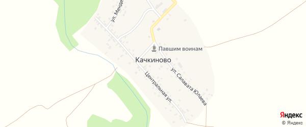 Центральная улица на карте деревни Качкиново с номерами домов