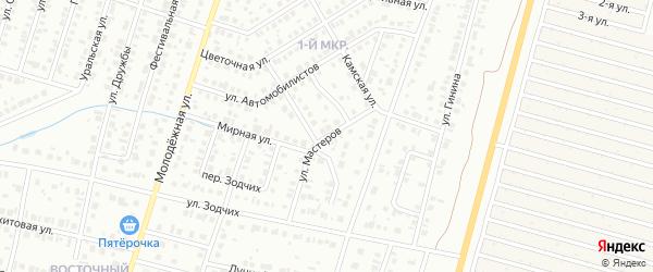 Улица Мастеров на карте Нефтекамска с номерами домов
