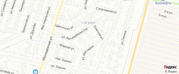 Камский переулок на карте Нефтекамска с номерами домов