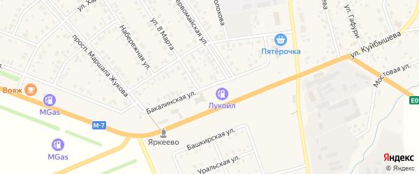 Бакалинская улица на карте села Верхнеяркеево с номерами домов