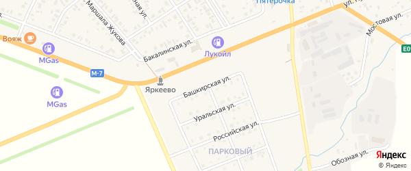 Башкирская улица на карте села Верхнеяркеево с номерами домов