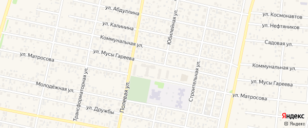 Улица М.Гареева на карте села Верхнеяркеево с номерами домов